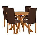 more details on Memphis Natural Round Dining Table and 4 Chocolate Chairs.
