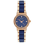 more details on Sekonda Ladies Blue and Rose Gold Stone Set Bracelet Watch.