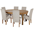 more details on Massey Wood Effect Extendable Table and 6 Grey Chairs.