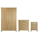 more details on New Capella 3 Piece 3 Door Wardrobe Package -Oak Effect.