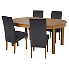 more details on Massey Wood Effect Extendable Table and 4 Black Chairs.