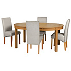 more details on Massey Wood Effect Extendable Table and 4 Grey Chairs.