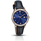 more details on Accurist Ladies Navy Strap Rose Gold Plated Stone Set Watch