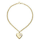more details on 9ct Gold Plated Silver Heart Message with CZ Charm Bracelet.