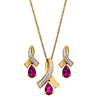 more details on Gold Plated Sterling Silver Created Ruby Pendant/Earrings.