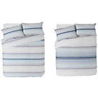 more details on Stripy Blue Twin Pack Bedding Set - Double.