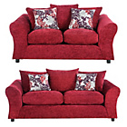 more details on Clara Large and Regular Fabric Sofas - Red.