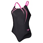more details on Speedo Sports Logo  Medalist Swimsuit Black and Pink.