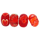 more details on Sterling Silver Red Patterned Glass Beads - Set of 4.