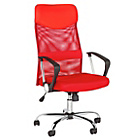 more details on Mesh & Leather Effect Headrest Adjustable Office Chair -Red.