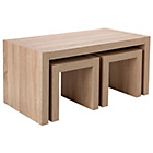 more details on Sicily Coffee Table with Nest of 2 Tables - Oak Effect.