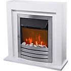 more details on Living Compact Pebble Electric Fire Suite - Ivory