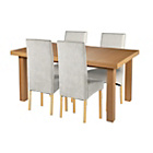 more details on Cosgrove Ext Oak Stain Dining Table & 4 Grey Chairs.