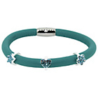more details on Turquoise 1 Row Cord Carrier Bracelet with Silver Charms.