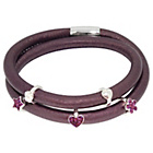 more details on Purple 2 Row Cord Carrier Bracelet with Silver Charms.