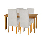 more details on Lincoln Oak Effect 120cm Dining Table and 4 Pale Grey Chairs