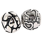 more details on Sterling Silver Love and Heart Beads - Set of 2.