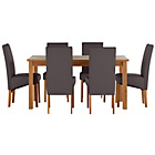 more details on Jackson Oak Stain 150cm Dining Table and 6 Chocolate Chairs.