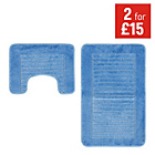 more details on Striped Bath and Pedestal Mat Set - Blue.
