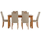 more details on Wilden Oak Stain 150cm Table & 6 Linen Mid Back Chairs.