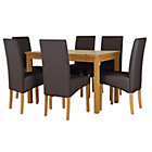 more details on HOME Lincoln Dining Table and 6 Chairs-Oak Effect/Chocolate.