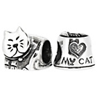 more details on Sterling Silver My Cat Beads - Set of 2.