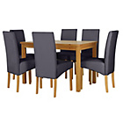 more details on Lincoln Oak Effect 150cm Dining Table and 6 Charcoal Chairs.