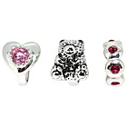 more details on Sterling Silver Pink Crystal Bear and Heart Beads - Set of 3