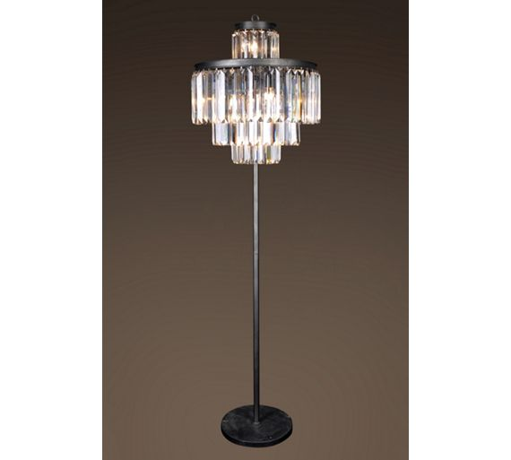 Buy art deco iron and crystal floor lamp at argoscouk for Floor lamp babies r us