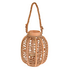 more details on Wooden Latern Aerin with Threaded Jute Detail Rope Handle.