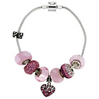 more details on Made Up Sterling Silver Pink Crystal Heart Bracelet.