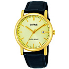 more details on Lorus Mens Gold Dial Black Strap Watch.