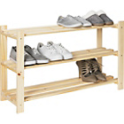 more details on HOME 3 Tier Part-Assembled Shoe Rack - Solid Unfinished Pine