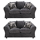 more details on HOME New Clara Regular and Regular Fabric Sofa - Charcoal.