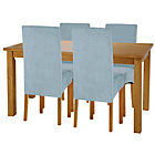 more details on Lincoln Oak Effect 120cm Dining Table and 4 Duck Egg Chairs.
