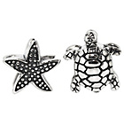more details on Sterling Silver Turtle and Starfish Beads - Set of 2.