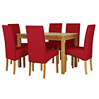 more details on Lincoln Oak Effect 150cm Dining Table and 6 Red Chairs.