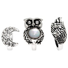 more details on Sterling Silver Moon, Owl and Wing Beads - Set of 3.