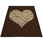 more details on Melrose County Your Heart Rug - 60x110cm - Chocolate.