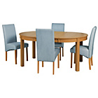 more details on Massey Wood Effect Extendable Table and 4 Duck Egg Chairs.