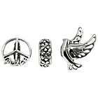 more details on Sterling Silver Bird and Band Beads - Set of 3.