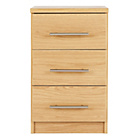 more details on HOME Normandy 3 Drawer Bedside Chest - Oak Effect.