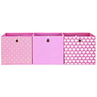 more details on Pink and Hearts Canvas Storage Boxes - 3 Pack.