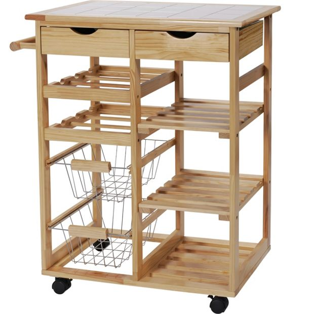 Buy home pine tile top kitchen trolley at for Kitchen trolley designs