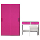 more details on New Sywell 2 Piece Sliding Wardrobe Package - White & Pink.