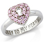 more details on Silver Stone Set Padlock Dress Ring - L.