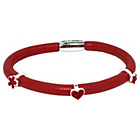 more details on Red 1 Row Cord Carrier Bracelet with Silver Charms.
