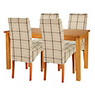 more details on HOME Lincoln Oak Effect 150cm Dining Table-4 Checked Chairs.