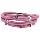 more details on Pink 3 Row Cord Carrier Bracelet and Silver Charms Gift Set.