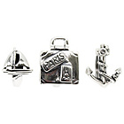 more details on Sterling Silver Suitcase and Sailor Beads - Set of 3.